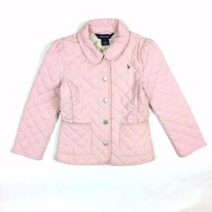 Ralph Lauren Pink White Seersucker Quilted Jacket